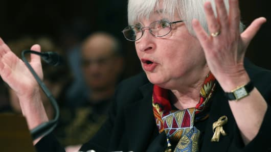 Federal Reserve Board Chair Janet Yellen as she testifies during a Senate Banking, Housing and Urban Affairs Committee hearing while delivering the Fed's semiannual Monetary Policy Report on Feb. 27, 2014