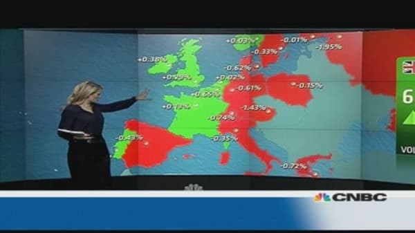 Europe shares close lower on Ukraine tensions