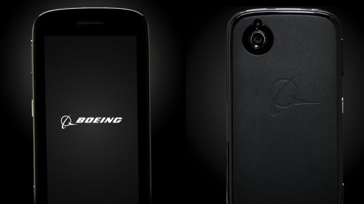 Boeing Black Smartphone front and back view.