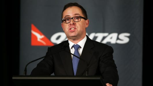 Alan Joyce, chief executive officer of Qantas Airways Ltd., speaks during a news conference in Sydney, Australia, on Thursday, Feb. 27, 2014.