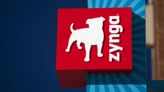 Zynga Inc. signage is displayed on the facade of the company's headquarters in San Francisco, California.