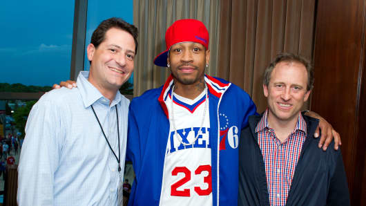 Philadelphia 76ers co-owner David Blitzer (far left), Allen Iverson and 76ers co-owner Joshua Harris in 2012.