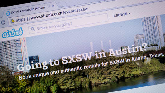 Airbnb's webpage for SXSW in Austin, Texas.
