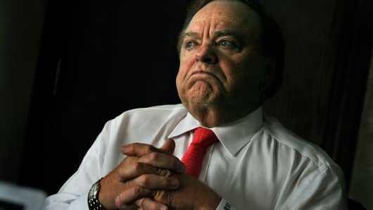 Continental Resources CEO Harold Hamm pauses during an interview in his Oklahoma City offices, July 12, 2012.
