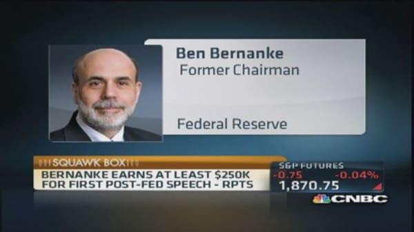 Bernanke earns at least $250,000 in first speech post Fed