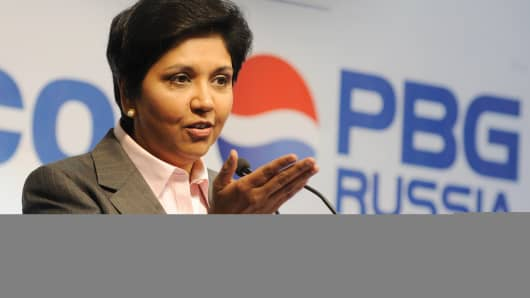 CEO of PepsiCo Indra Nooyi speaks at the official opening of a PepsiCo bottling plant in Domodedovo, near Moscow, on July 8, 2009.