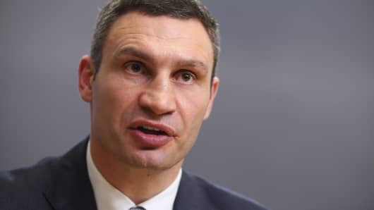 Vitali Klitschko, Chairman of the UDAR Ukrainian opposition party, speaks at a press conference at the Reichstag on February 17, 2014 in Berlin, Germany.