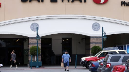 Customers leave a Safeway store on March 5, 2014 in San Francisco, California.