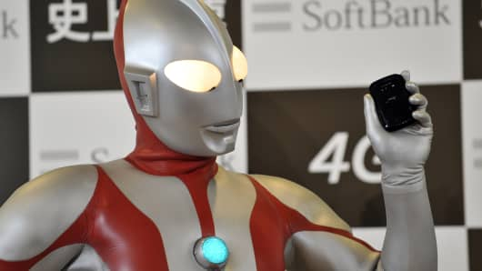 A model dressed as the fictional action character Ultraman