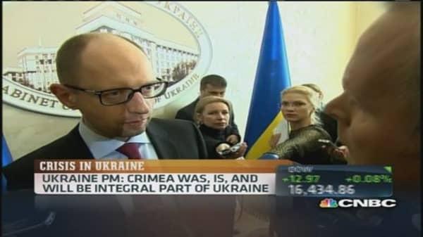 Ukraine PM: Crimea is part of Ukraine, no concessions