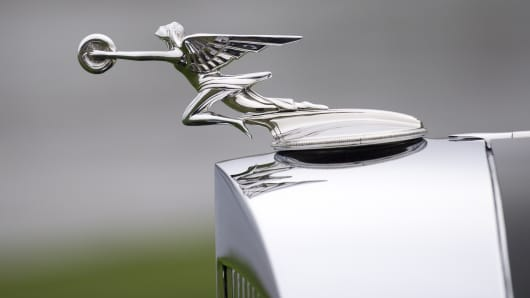 The hood ornament of the 1934 Packard 1108 Twelve Dietrich Convertible Victoria shown at the 2013 Pebble Beach Concours d'Elegance. At the Amelia Island event this weekend, there will be 10 Packard concept and prototype cars from Ralph Marano's collection, according to AutoWeek.