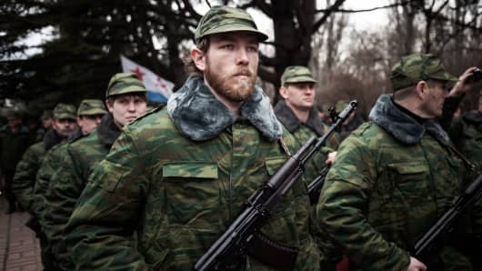 Soldiers of the newly formed Crimean army attend the oath ceremony in Simferopol on March 8, 2014.