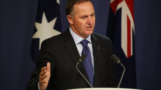 New Zealand Prime Minister, John Key speaks to media at the Commonwealth Parliamentary Offices during a joint press conference in Sydney, Australia.