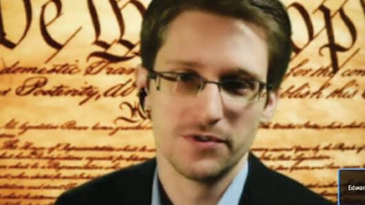Edward Snowden speaks remotely at SXSW.