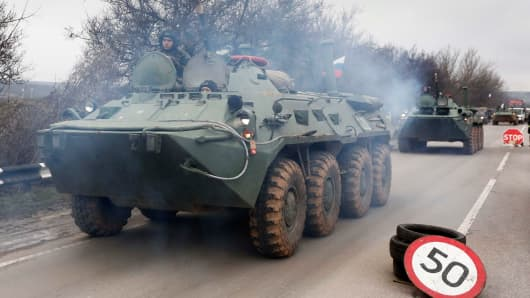 Russian armored personnel carriers reported to be heading to Simferopol of Crimea, Ukraine.