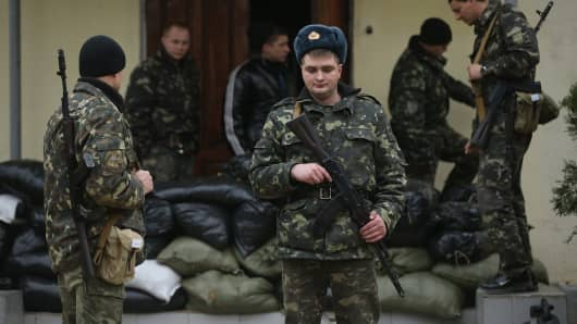 Ukrainian soldiers inside the Belbek military base