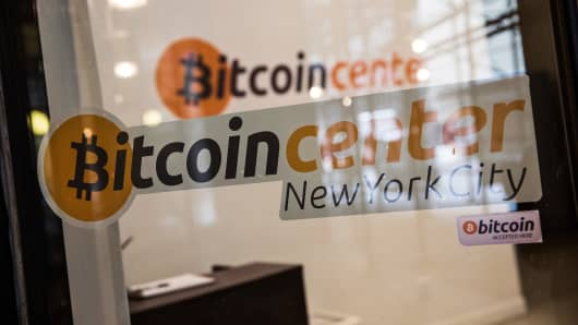 The Bitcoin Center of New York City is seen on February 25, 2014 in New York City. The center operates as a physical place for people to come and trade digital currencies; there are over 100 digital currencies.