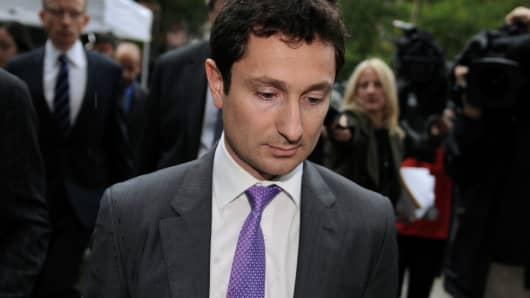 Fabrice Tourre, a former vice president at Goldman Sachs Group Inc., exits federal court in New York, Aug. 1, 2013.