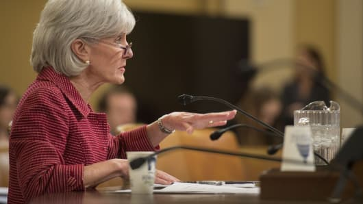Secretary of Health and Human Services Kathleen Sebelius testifies before the House Ways and Means Committee on March 12, 2014.