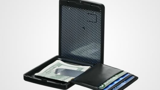 The iWallet opens with a biometric fingerprint reader.