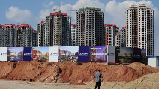 Empty apartment developments in the city of Ordos, Inner Mongolia, Sept. 12, 2011.