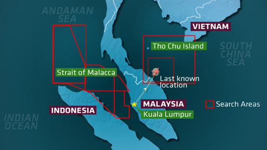 Search areas for missing flight MH370