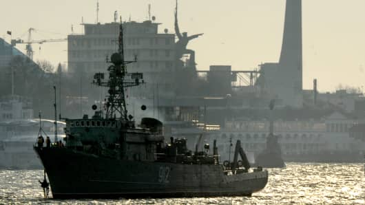 The Turbinist Russian navy minesweeper patrols the harbor of Sevastopol.