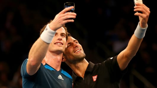 Andy Murray and Novak Djokovic take selfies at Madison Square Garden