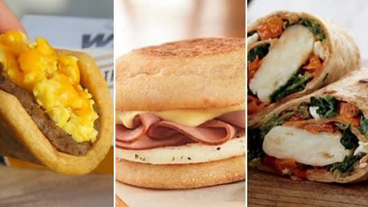 Breakfast Wars! New breakfast offerings from Taco Bell (L), Dunkin' Donuts (C) and Starbucks (R).