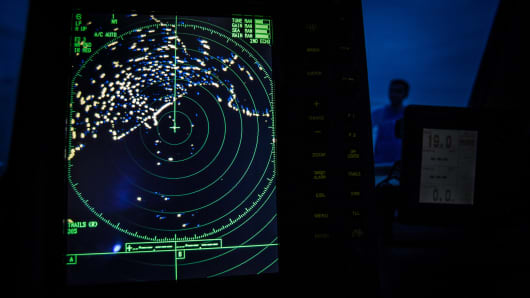 A navigational radar on Indonesia's National Search and Rescue boat shows details during a search in the Andaman sea area around northern tip of Indonesia's Sumatra island for the missing Malaysian Airlines flight MH370.