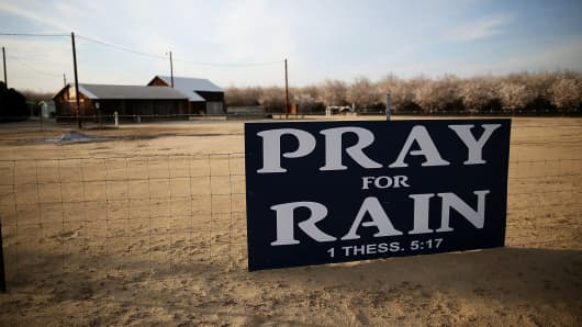 A sign near an almond farm on February 25, 2014 in Turlock, California.