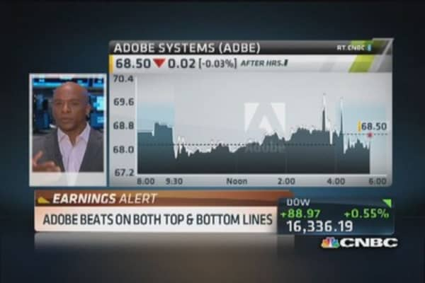 Adobe pops on earnings beat