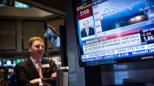 trader on the floor of the New York Stock Exchange reacts to an announcement from the Federal Reserve during the afternoon of March 19, 2014 in New York City.