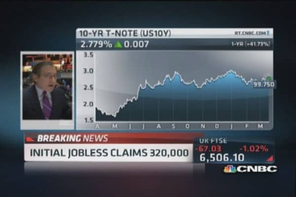 Initial jobless claims up 5,000 to 320,000