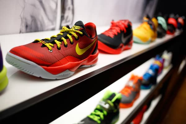 Nike sneakers sit on display at a Foot Locker store inside the South Park Mall in Strongsville, Ohio, March 4, 2014.