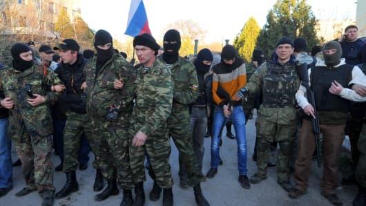 Pro-Russian militiamen in Belbek near the Crimean city of Sevastopol