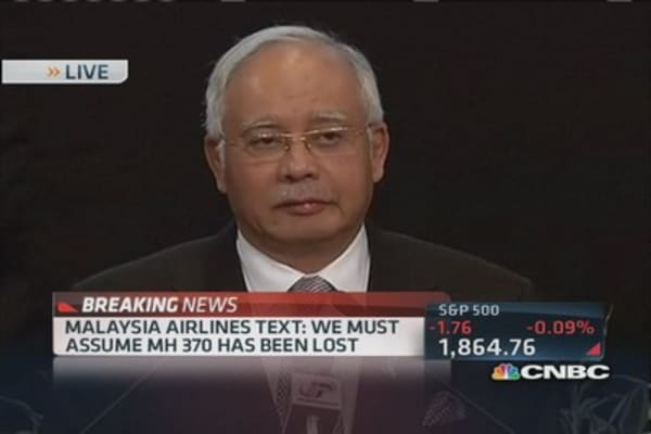 Malaysia PM: Deep sadness to inform MH 370 ended in Indian Ocean