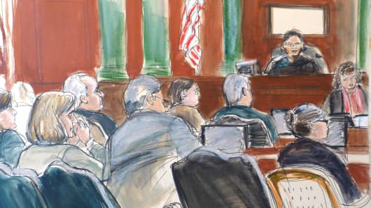 Sketch of courtroom scene during Madoff trial.