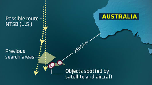 Map showing possible route taken by missing MH370 flight