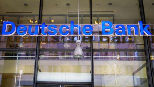 Deutsche Bank signage.