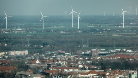 Wind turbines lay on the outskirts of Berlin, Germany.