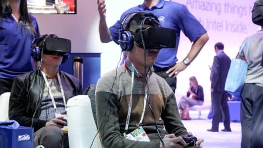 Oculus prototypes seen at CES 2014 in Las Vegas.