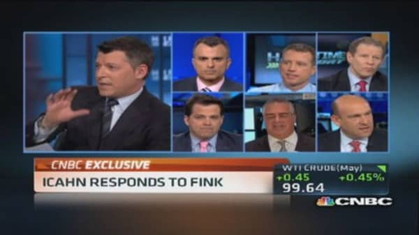 Icahn comments on Fink's long-term focus