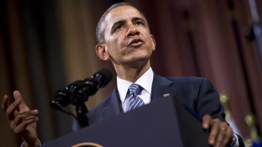 Barack Obama delivers a speech at the Palais des Beaux-Arts in Brussels on March 26, 2014.