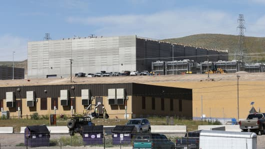 Construction trailers sit in front of the new National Security Agency (NSA) data center June 10, 2013 in Bluffdale, Utah.