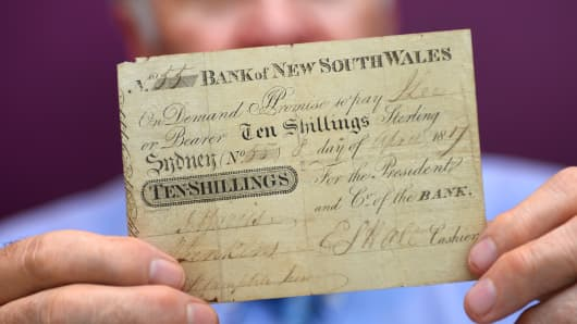 The only known specimen of the first official banknote issued in Australia.