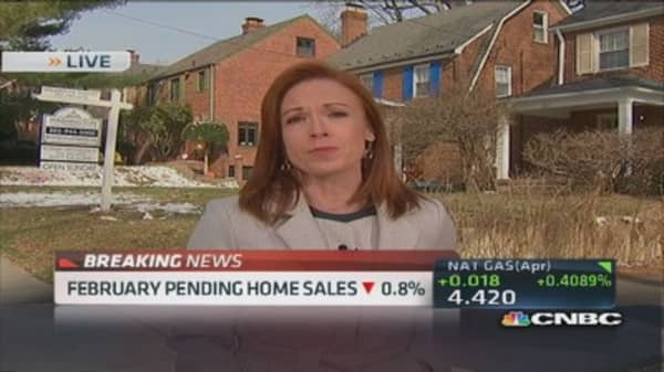 February pending home sales down 0.8%