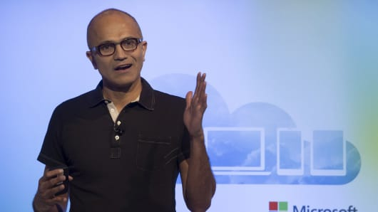 Satya Nadella, chief executive officer of Microsoft Corp., speaks during an event in San Francisco, on Thursday, March 27, 2014.. Nadella unveiled Office software for Apple Inc.'s iPa.