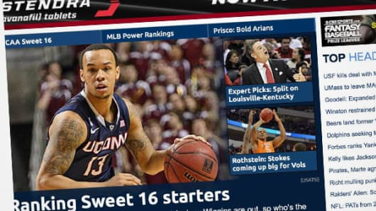 Stendra, a drug to treat erectile dysfunction, advertised on the CBS Sports website on Wednesday.