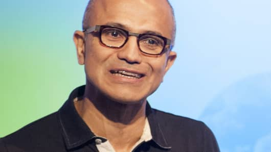 Satya Nadella, CEO of Microsoft, speaks at a media event in San Francisco, California on Thursday, March 27, 2014.
